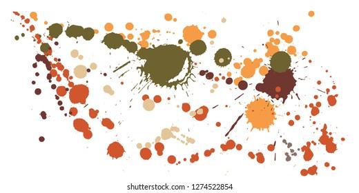 Graffiti spray stains grunge background vector. Graphic ink splatter, spray blots, dirt spot elements, wall graffiti. Watercolor paint splashes pattern, smear liquid stains spots backdrop.