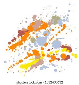 Graffiti spray stains grunge background vector. Sprawling ink splatter, spray blots, dirty spot elements, wall graffiti. Watercolor paint splashes pattern, smear liquid splats stains background.