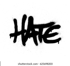 graffiti sprayed hate word in black on white