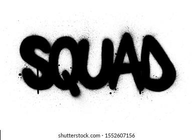 graffiti squad word sprayed in black over white
