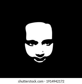 Graffiti stencil face. Little baby girl face stencil on a black background. Vector art
