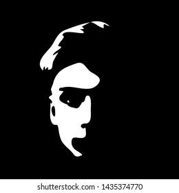 Graffiti stencil face. Young man graffiti stencil face. Vector art.