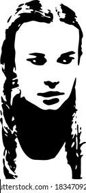 Graffiti stencil face. Young woman graffiti stencil face. Vector art.