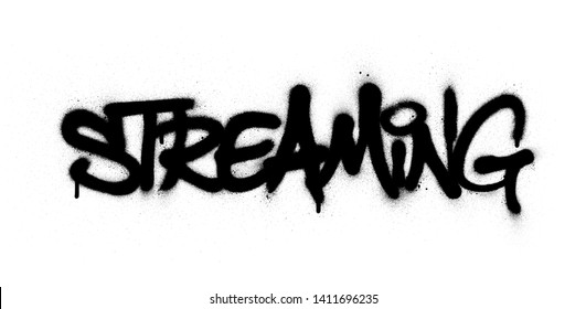 graffiti streaming word sprayed in black over white