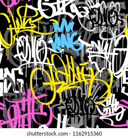 Graffiti street art tags - black and white grunge style vector seamless pattern. Hip Hop street art endless background for print fabric and textile design. Meaningless spray paint graffiti tags