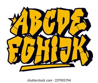 Graffiti style font type. Vector alphabet (part 1)