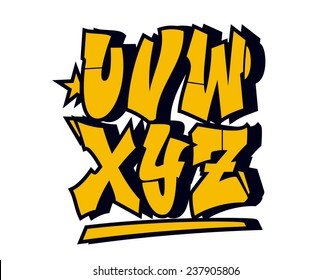 Graffiti style font type. Vector alphabet (part 3)