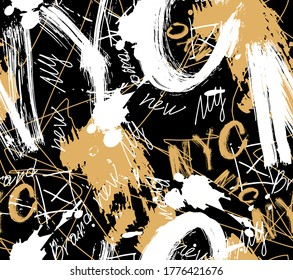 graffiti style seamless abstract pattern.Vector illustration. paint drips. Modern print. Textiles, print, t-shirts, shapes and doodle objects. Abstract modern trendy vector illustration.