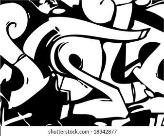 Graffiti style vector black and white image