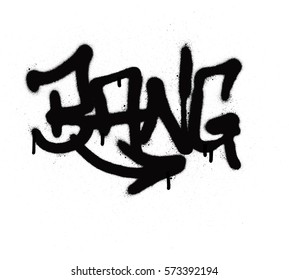 graffiti tag bang sprayed with leak in black on white