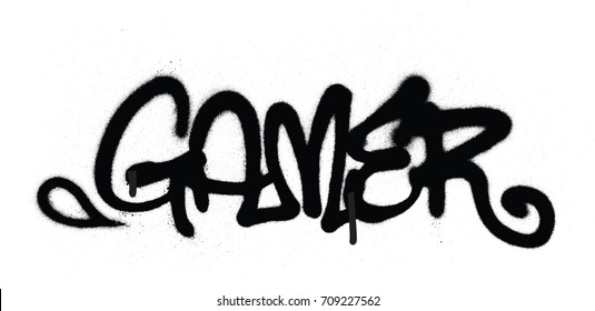 graffiti tag gamer sprayed with leak in black on white