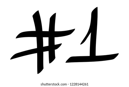 Graffiti tag hashtag number one on a white background. Vector art