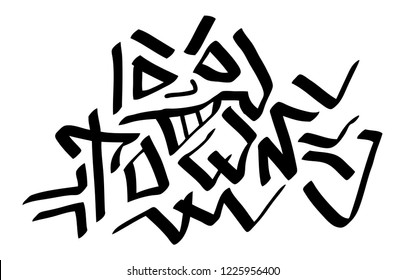 Graffiti tag inscription town on a white background. Vector art