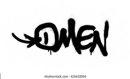 graffiti tag omen sprayed with leak in black on white