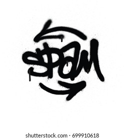 graffiti tag spam sprayed with leak in black on white