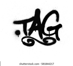 graffiti tag sprayed with leak in black on white