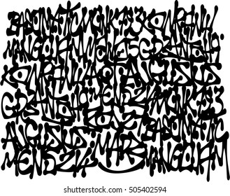 graffiti tags background in black over white