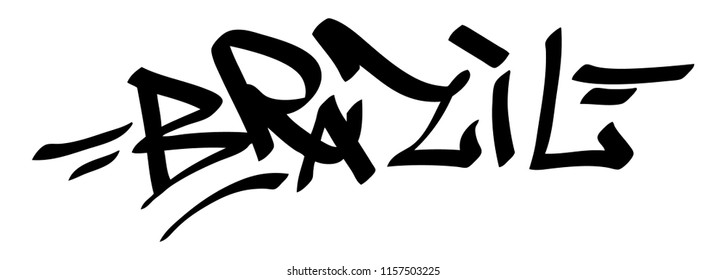 Graffiti tags Brazil on a white background. Vector art