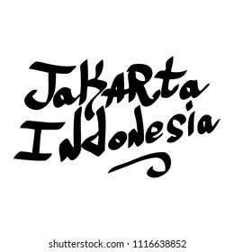 Graffiti tags inscription country and city Jakarta Indonesia.