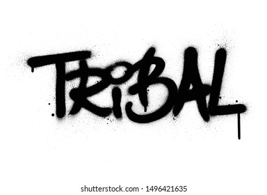 graffiti tribal word sprayed in black over white
