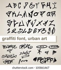 graffiti vector alphabet hip-hop urban slyle