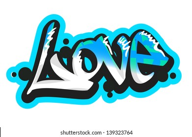 Graffiti vector art urban design element. Love word