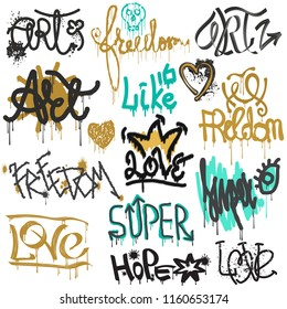 Graffiti vector street art graffity grunge font by spray or brush stroke on wall illustration urban set of love freedom text lettering isolated on white background