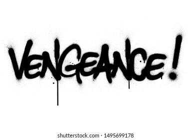graffiti vengeance word sprayed in black over white