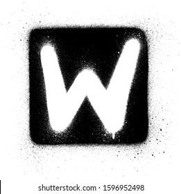 graffiti W font sprayed in white over black square