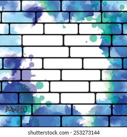 Graffiti wall background with blue watercolor splashes, urban art