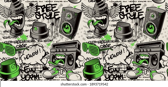 graffiti wall background, graffiti seamless pattern with different graffiti characters, this design can be used as a print for fabrics or as a wallpaper