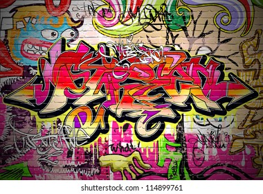 Graffiti wall background. Urban art grafitti vector design