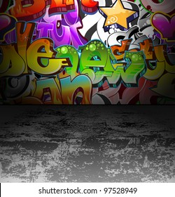 Graffiti wall background. Urban art cool grunge design