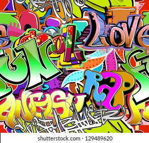 Graffiti wall. Urban art vector background. Seamless hip hop texture