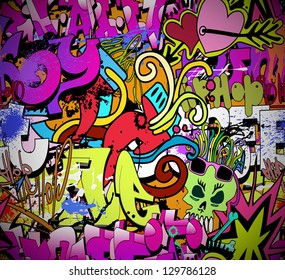 Graffiti wall. Urban art vector background