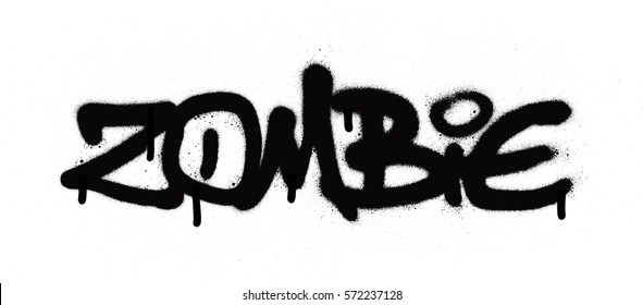 graffiti zombie tag sprayed with leak in black on white