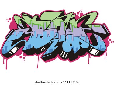 Graffito text design - boy. Color vector illustration.