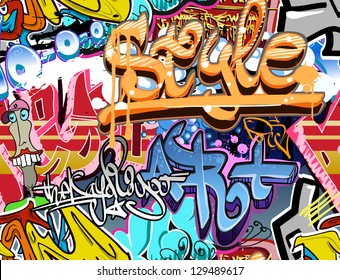 Graffity wall. Street art grafitti vector urban texture background