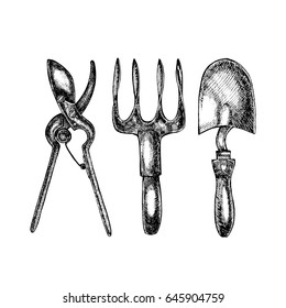 Grafic illustration of garden tools. Isolated on white background.