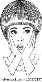 Grafika liniowa twarzy kobiety mody. Modna fryzura.