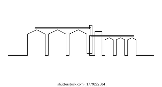 Grain elevator in continuous line art drawing style. Silos for grain storage minimalist black linear design isolated on white background. Vector illustration