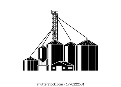 Grain elevator. Warehouse with silos for grain storage black design isolated on white background. Vector illustration