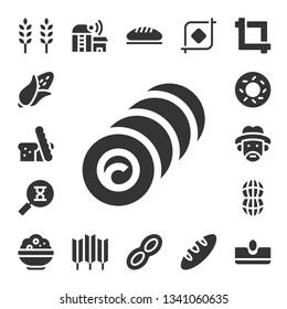 grain icon set. 17 filled grain icons.  Collection Of - Wheat, Corn, Bread, Bale, Sandclock, Bagel, Farmer, Peanut, Rice, Farm, Crop, Sow