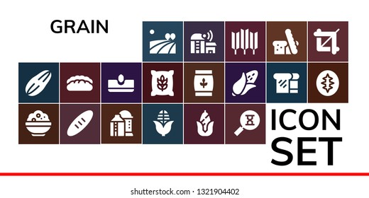 grain icon set. 19 filled grain icons.  Simple modern icons about  - Field, Seed, Rice, Bread, Silo, Corn, Sandclock, Sow, Wheat, Sourdough, Farm, Crop
