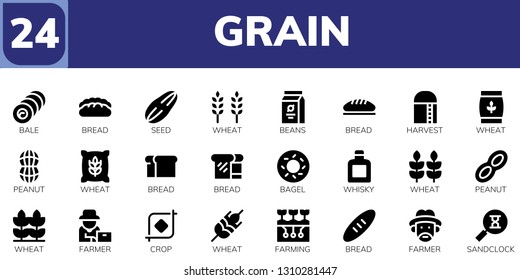 grain icon set. 24 filled grain icons.  Simple modern icons about  - Bale, Bread, Seed, Wheat, Beans, Harvest, Peanut, Bagel, Whisky, Farmer, Crop, Farming, Sandclock