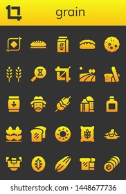 grain icon set. 26 filled grain icons.  Collection Of - Crop, Bread, Beans, Wheat, Sandclock, Field, Farmer, Silo, Whisky, Bagel, Rice, Sourdough, Seed, Bale