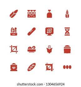 grain icon set. Collection of 16 filled grain icons included Seeds, Crop, Bread, Flour, Corn, Sandclock, Sack, Farm