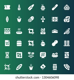 grain icon set. Collection of 36 filled grain icons included Bread, Seed, Corn, Crop, Beans, Field, Sandclock, Rice, Peanut, Protein, Farm, Coffee beans, Cinnamon roll, Kanji vadas