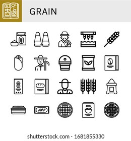 grain icon set. Collection of Agriculture, Flour, Corn, Farmer, Seeder, Wheat, Fertilizer, Seed bag, Coffee beans, Peanut, Bread, Sack, Beans icons