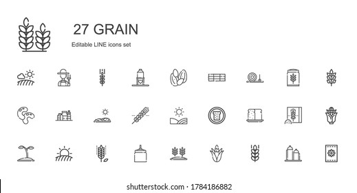 grain icons set. Collection of grain with wheat, corn, oat, field, seed, bread, cereal, proteins, beans, straw bale, hay bale, seeds, silo. Editable and scalable grain icon